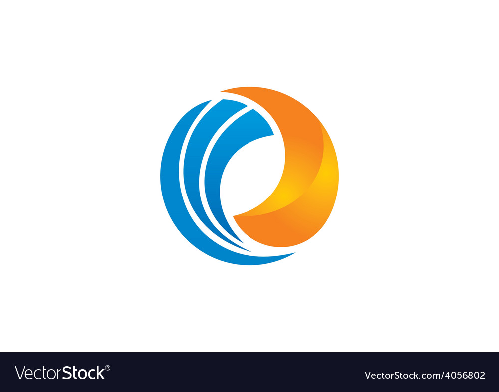 Circle swirl round business 2D logo vector image