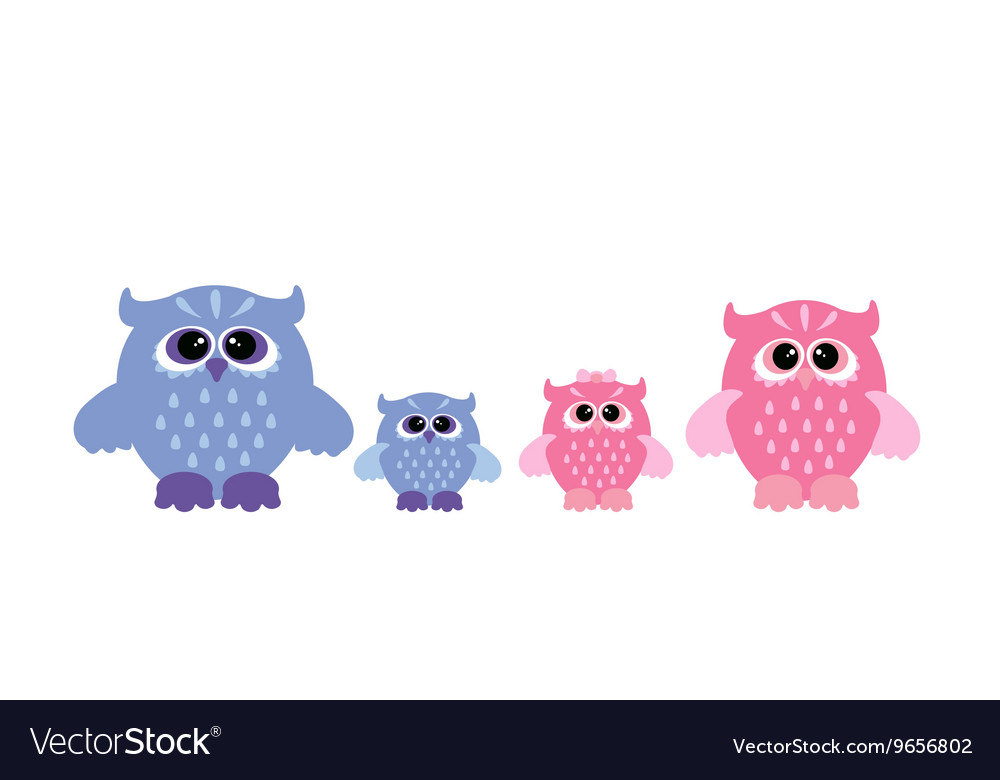 Cute owl set vector image