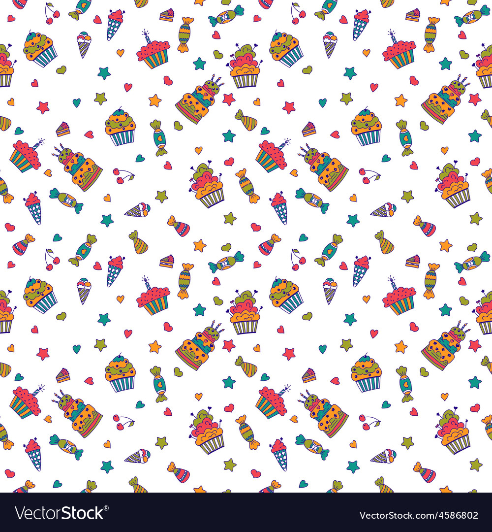 Cute sweet seamless pattern birthday background vector image voltagebd Gallery