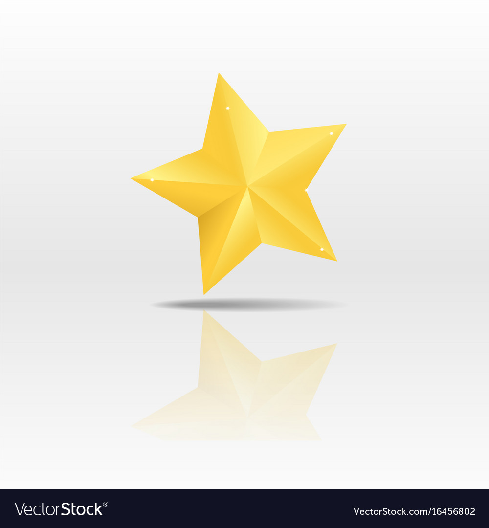 Gold paper star on white background