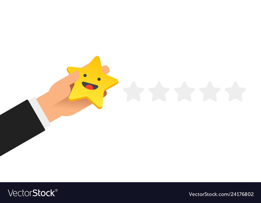 Hand putting five gold stars with smile face on