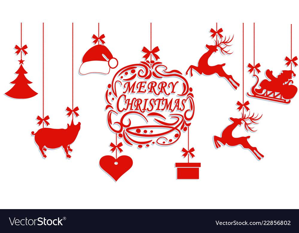 Merry christmas santa claus hat deer heart