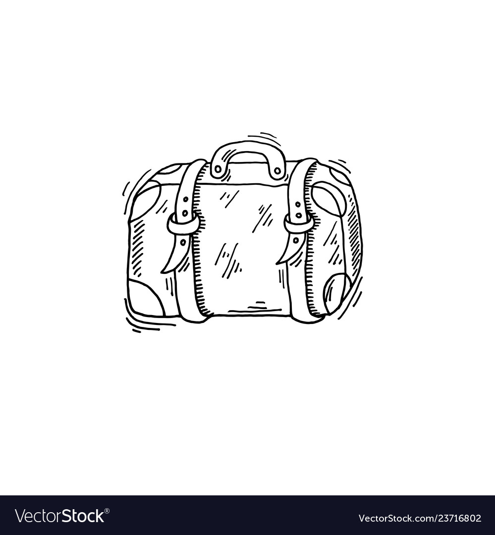 Old travel case sketch drawing icon summer themed