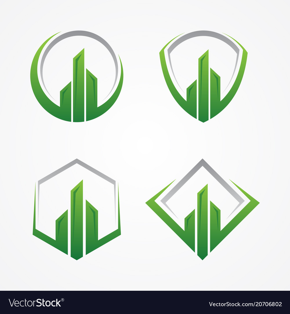 Realty or finance symbol with color green and grey