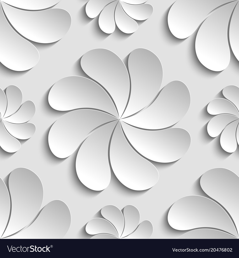 Seamless Pattern White 3d Paper Flower Royalty Free Vector
