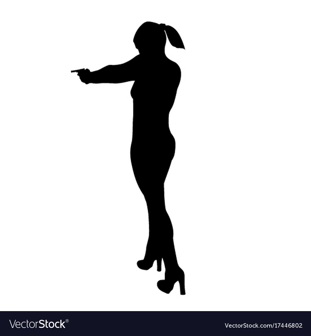 Sexy woman gun silhouette vector images 36
