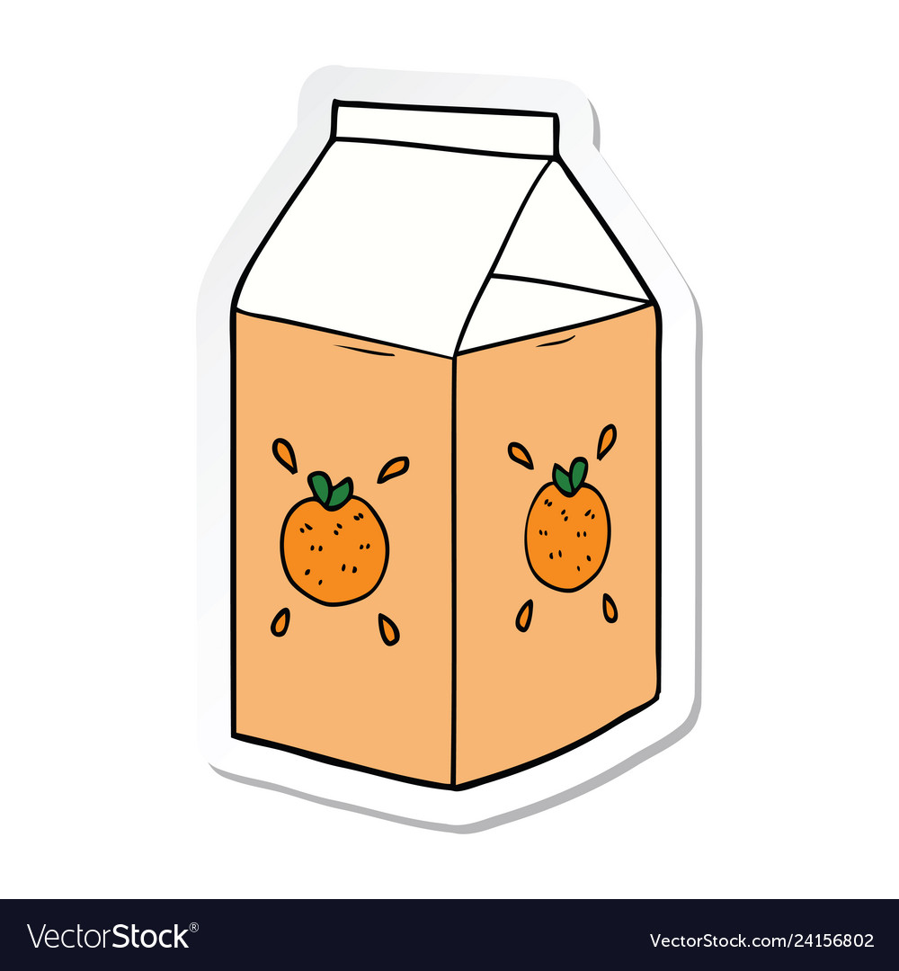 Sticker of a cartoon orange juice carton Vector Image