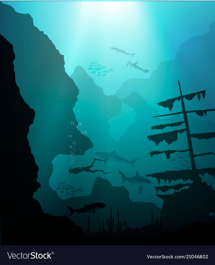 Underwater world with scuba diver and ship