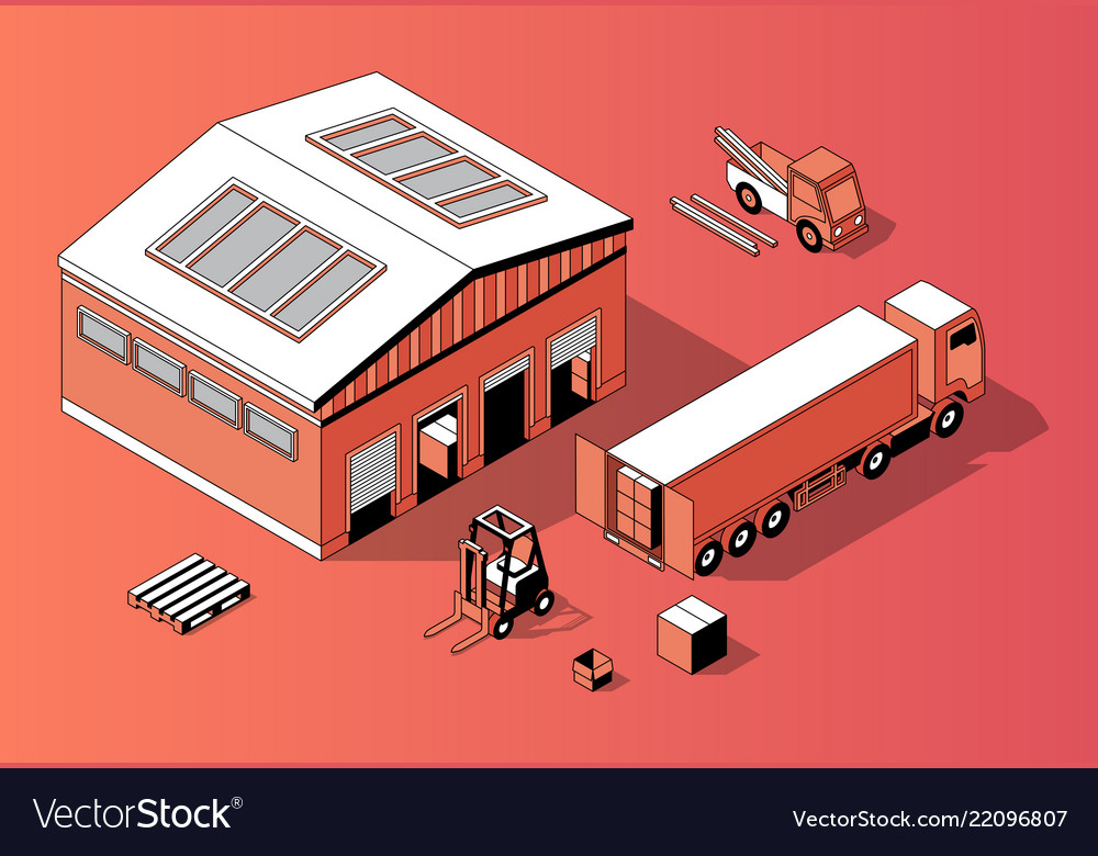 3d isometric warehouse with truck forklift