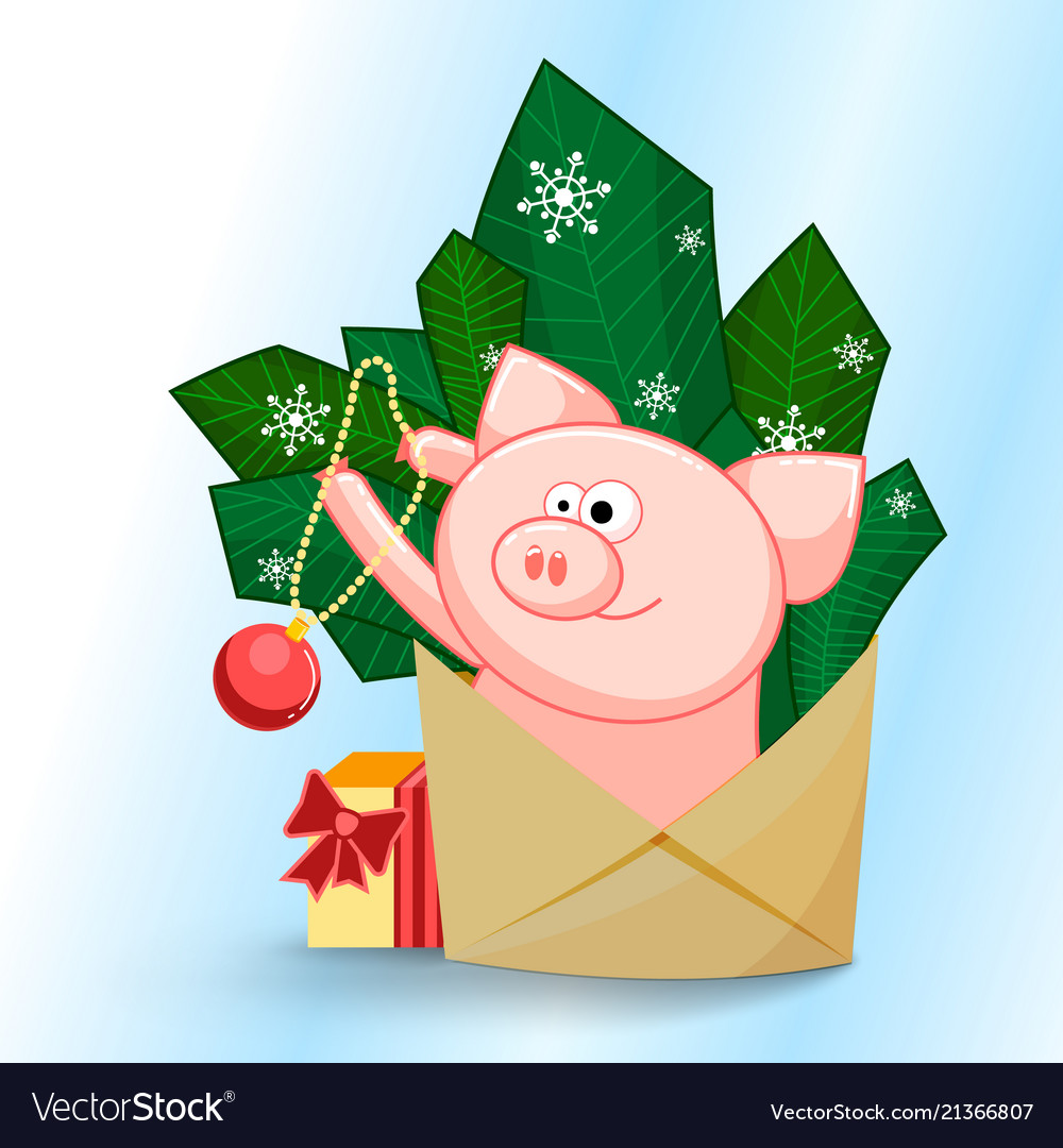 A funny pig jumping out of an envelope to decorate