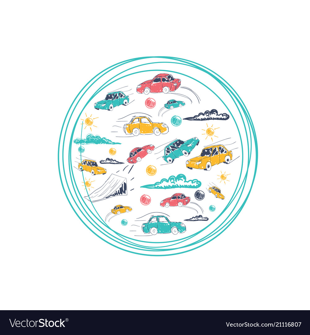 Cars in a circle icons set transport