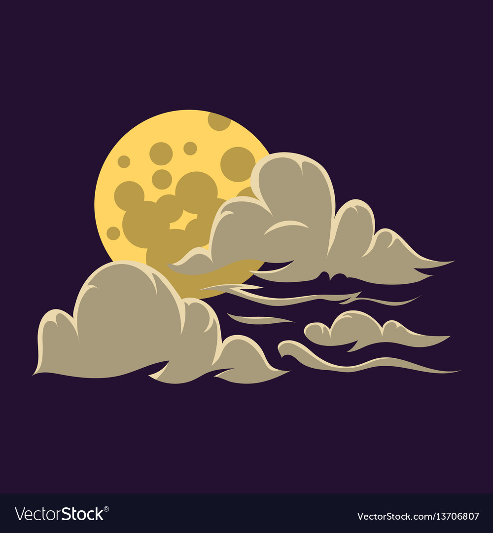 Cartoon moon with clouds nature cosmos cycle