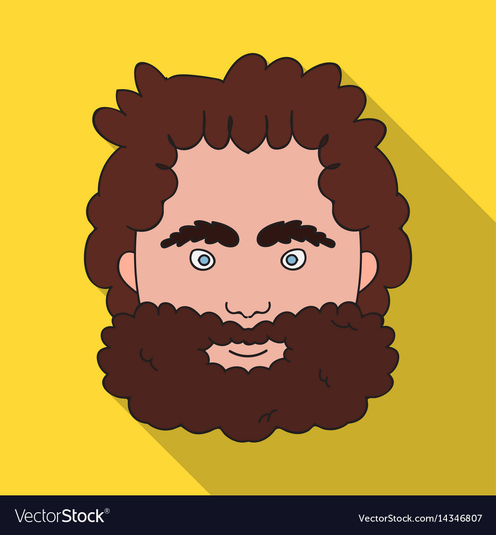 Caveman face icon in flate style isolated on white