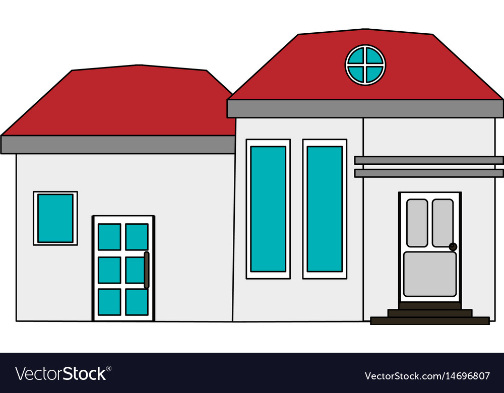 Colorful image cartoon facade modern house with