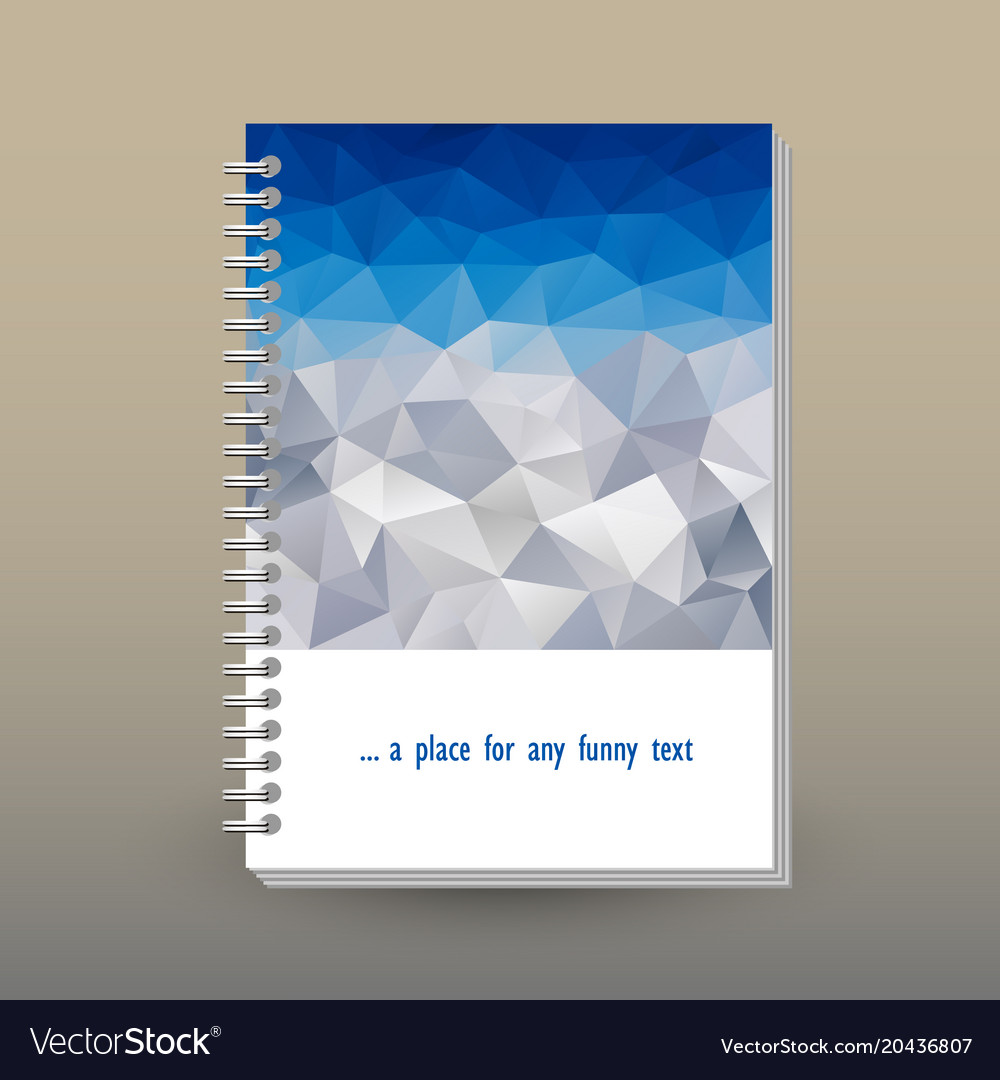 Cover of diary polygonal blue sky over mountain