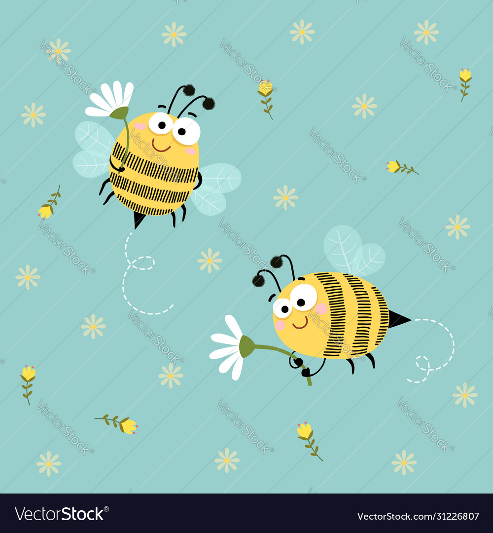 Cute bees flying with flowers background