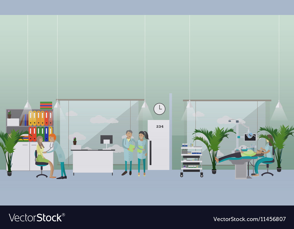 Dental clinic interior concept Dentist works with