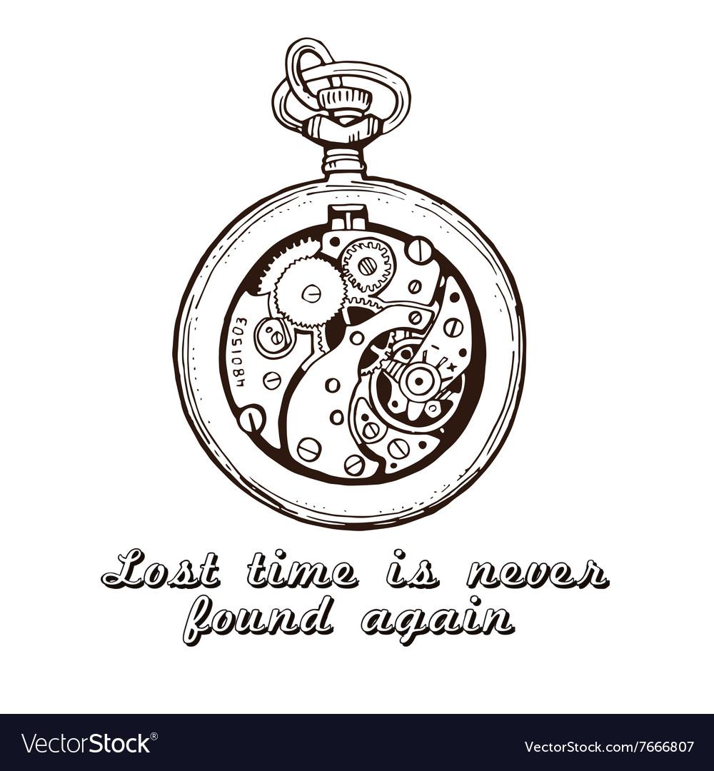 Hand drawn vintage watch clock sketch