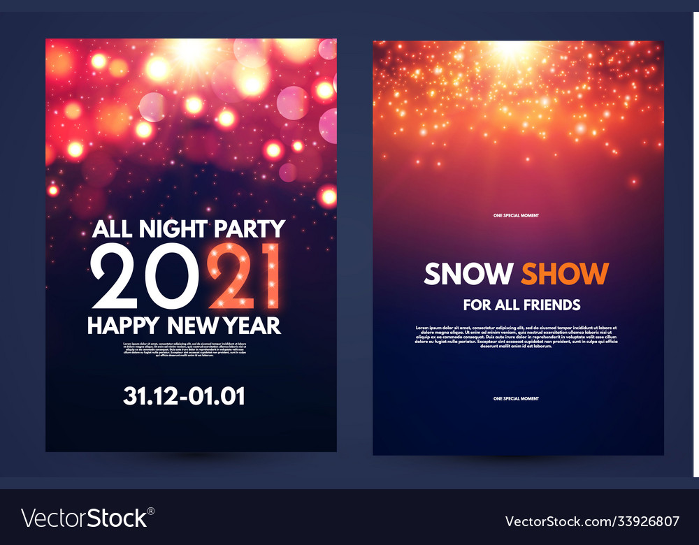 Happy new 2021 year flyer design template set