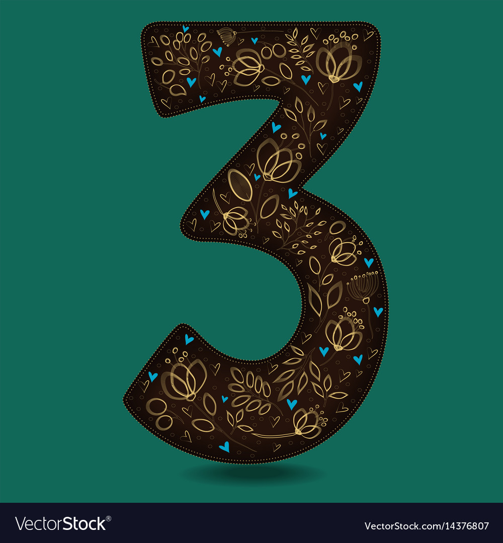 Number three with vintage yellow floral decor vector image