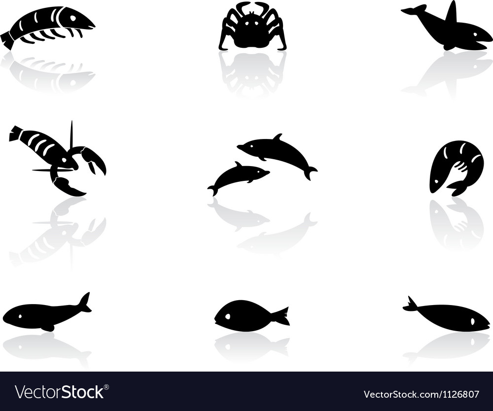 Ocean life icons 2 vector image