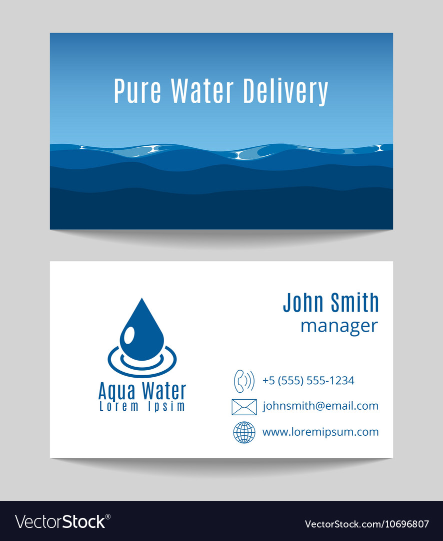 Pure water delivery business card template vector image colourmoves