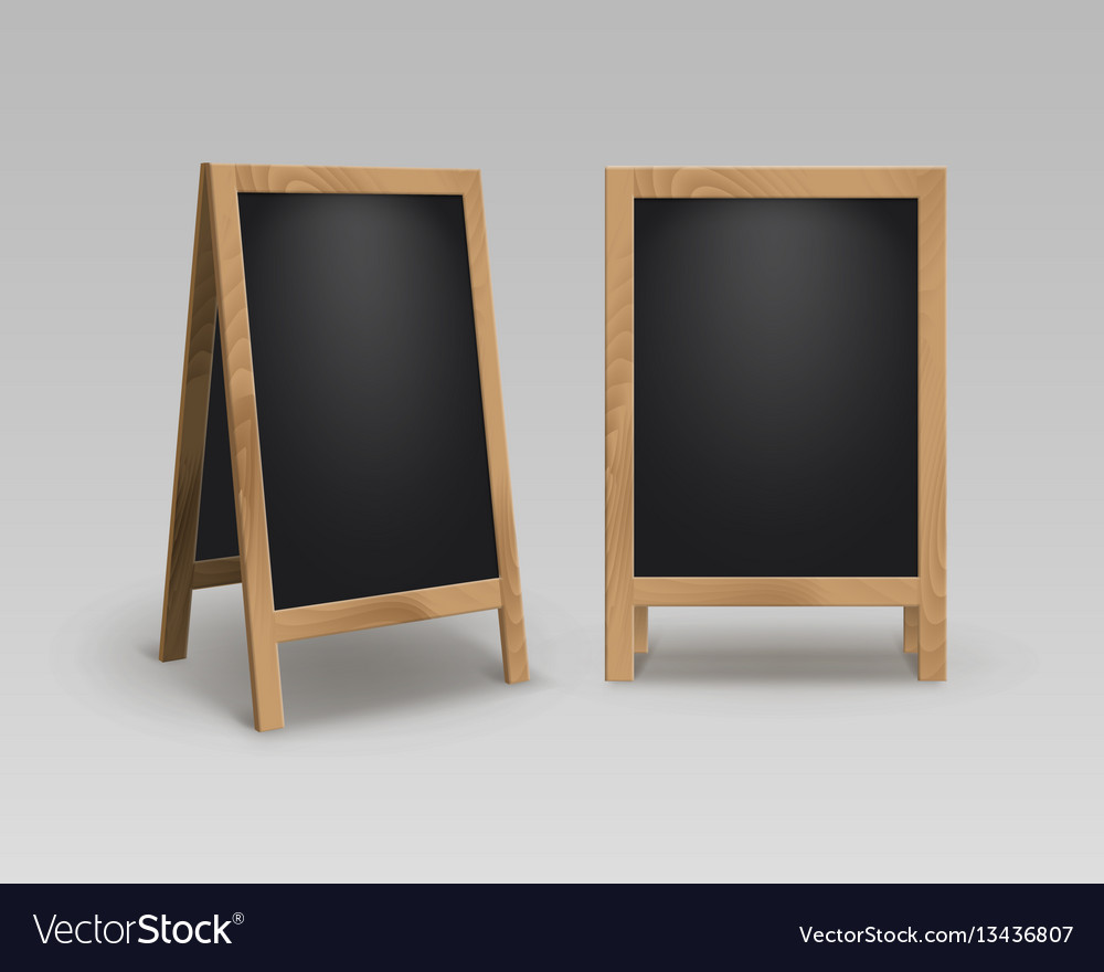 Set Of Wooden Advertising Stands Sidewalk Signs