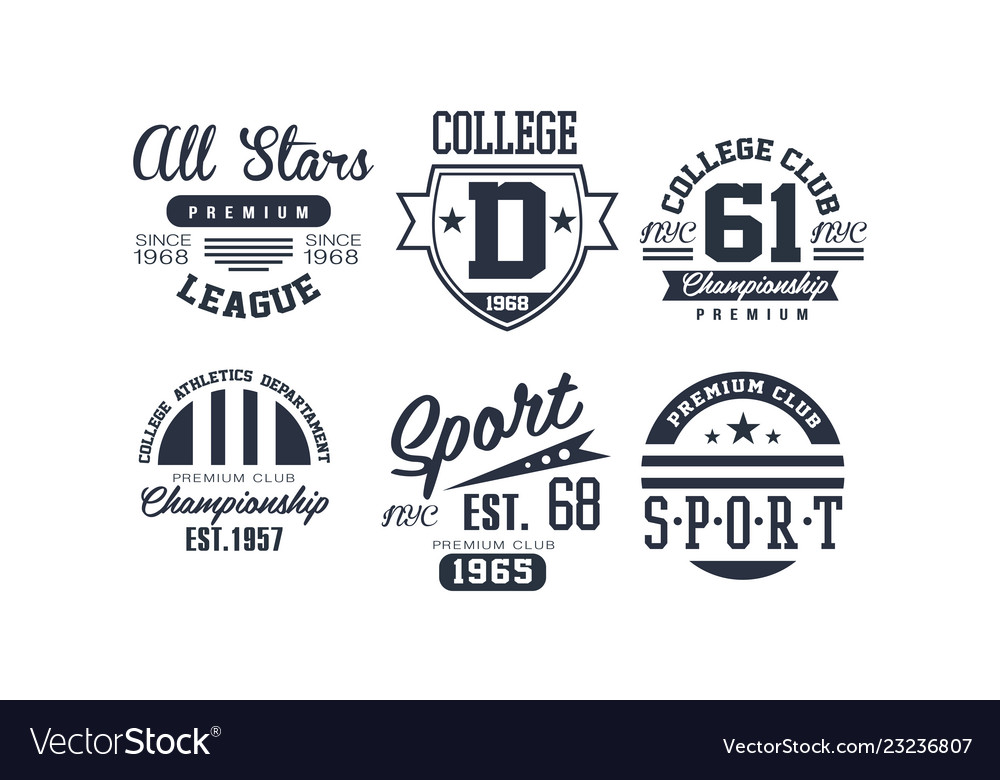 Sport college club logo design set vintage