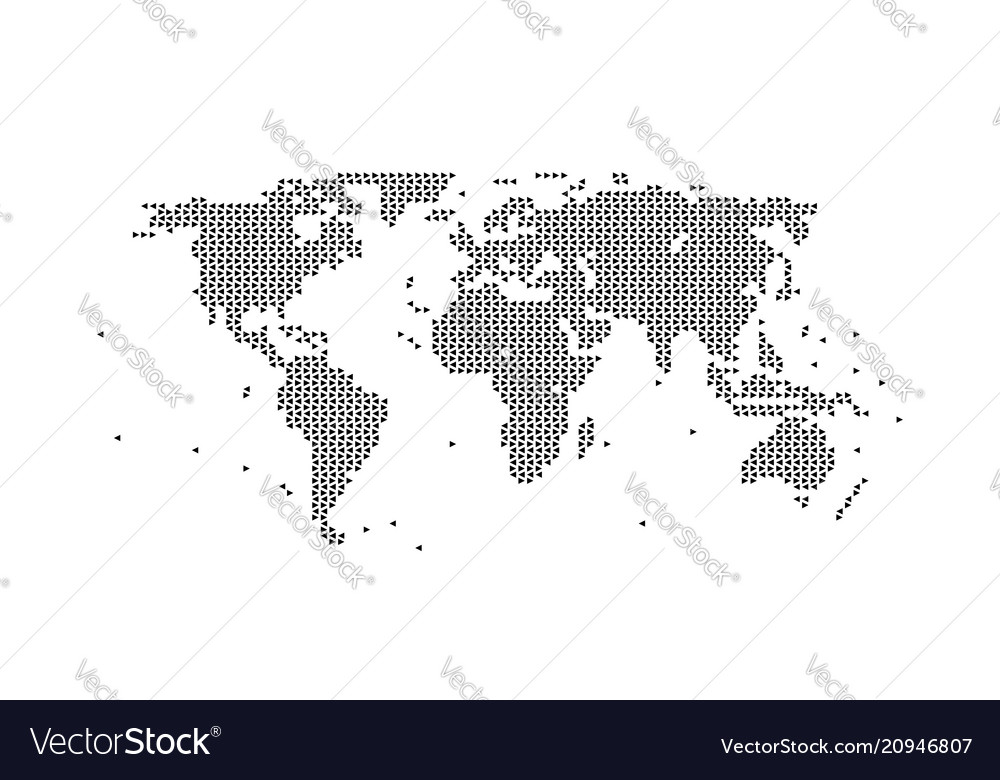World map geometric black assembled from