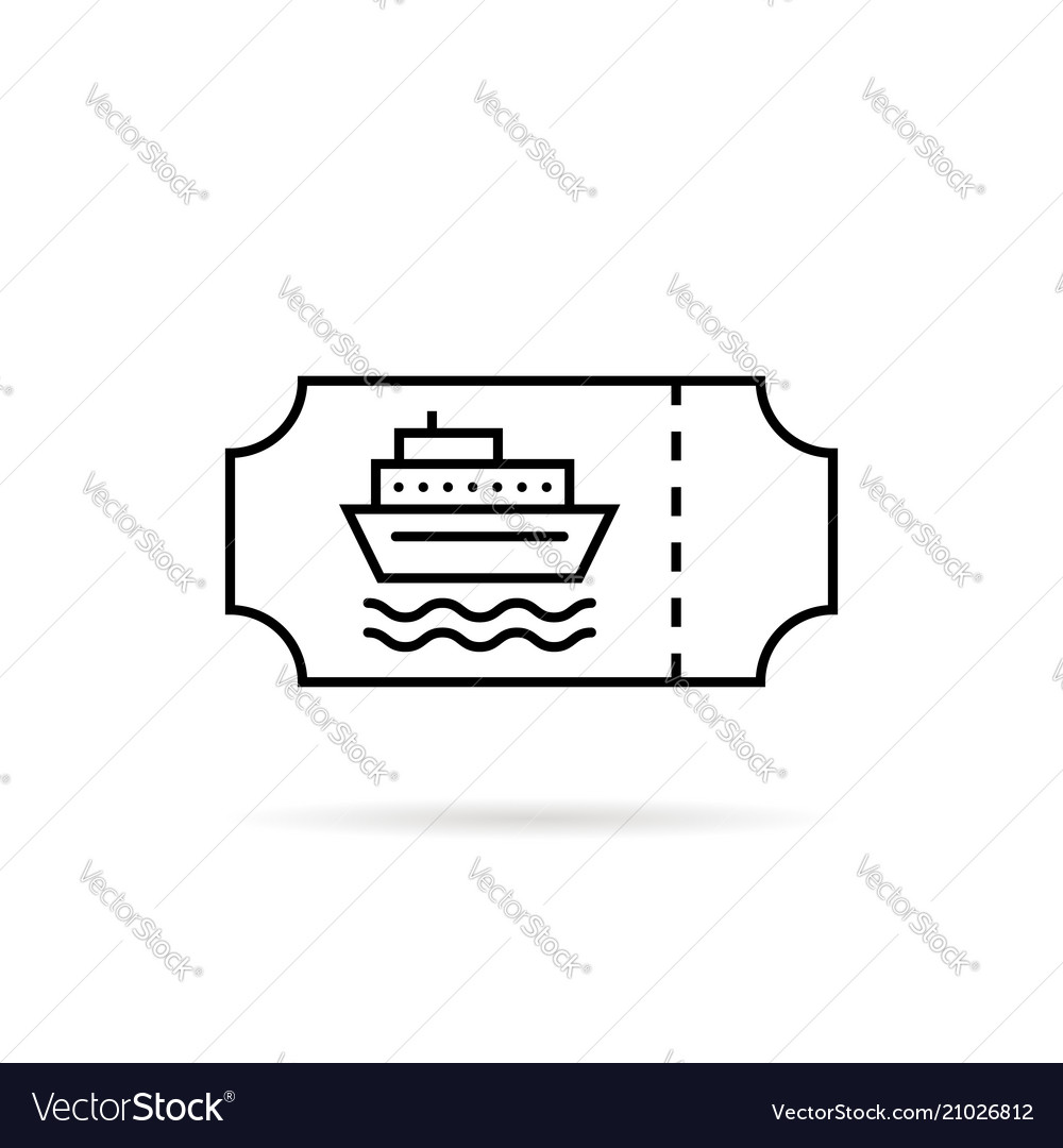 Black thin line marine ticket for boat
