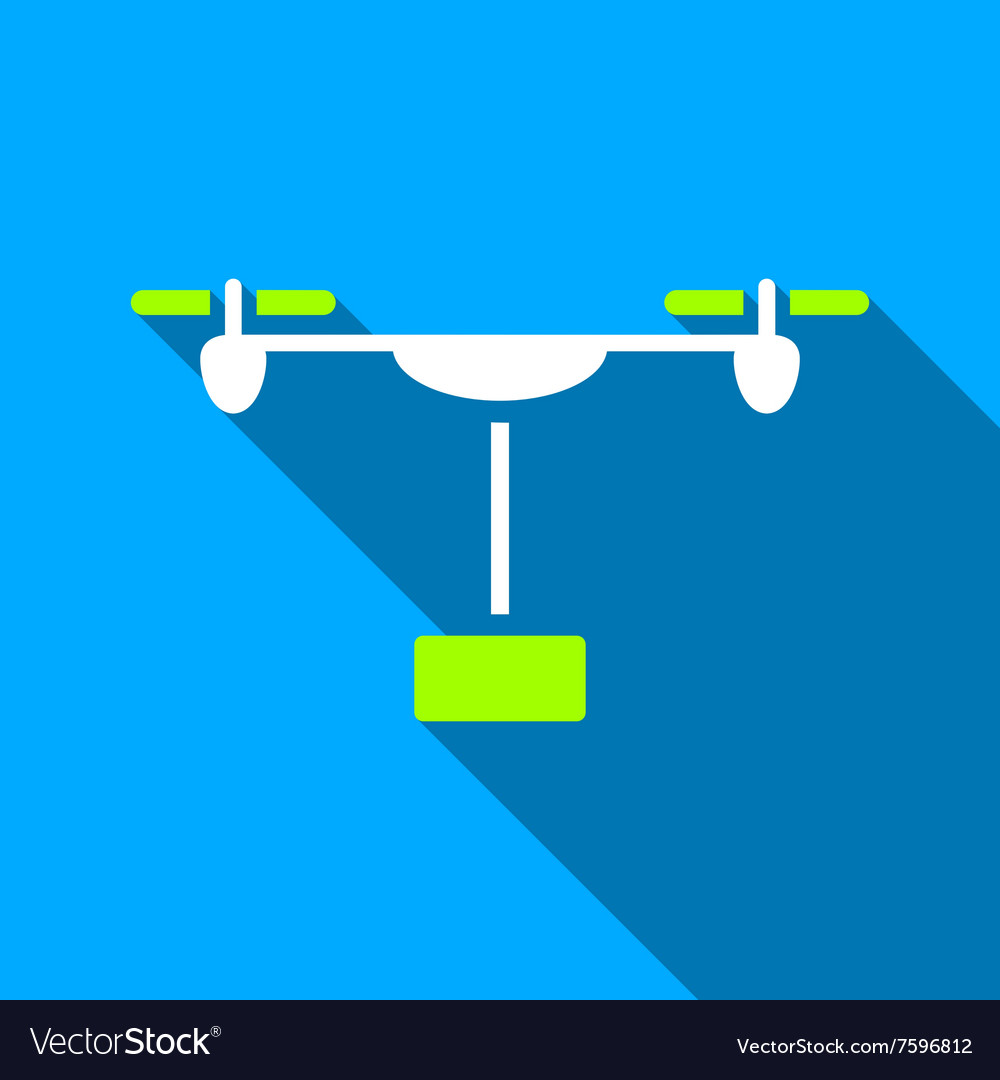 Drone Shipment Flat Long Shadow Square Icon vector image