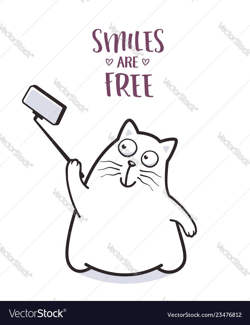 Funny cat taking selfie for greeting card design