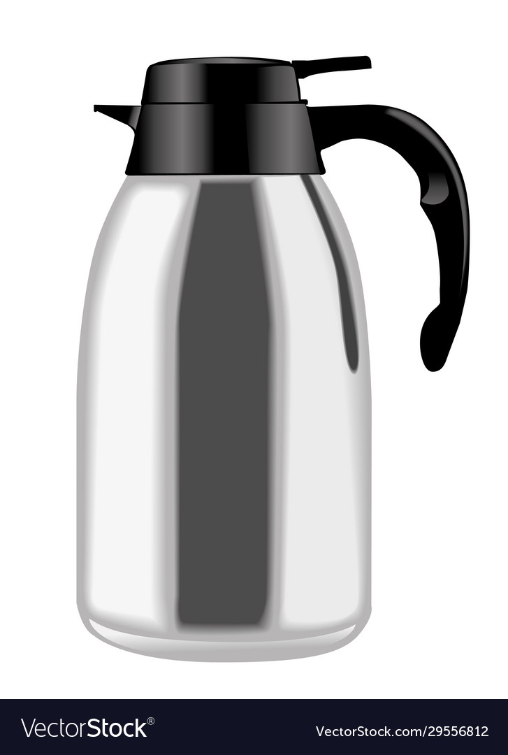 Metallic coffee thermos in side view