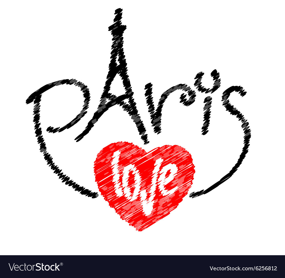 Paris letters text logo with tower and love word