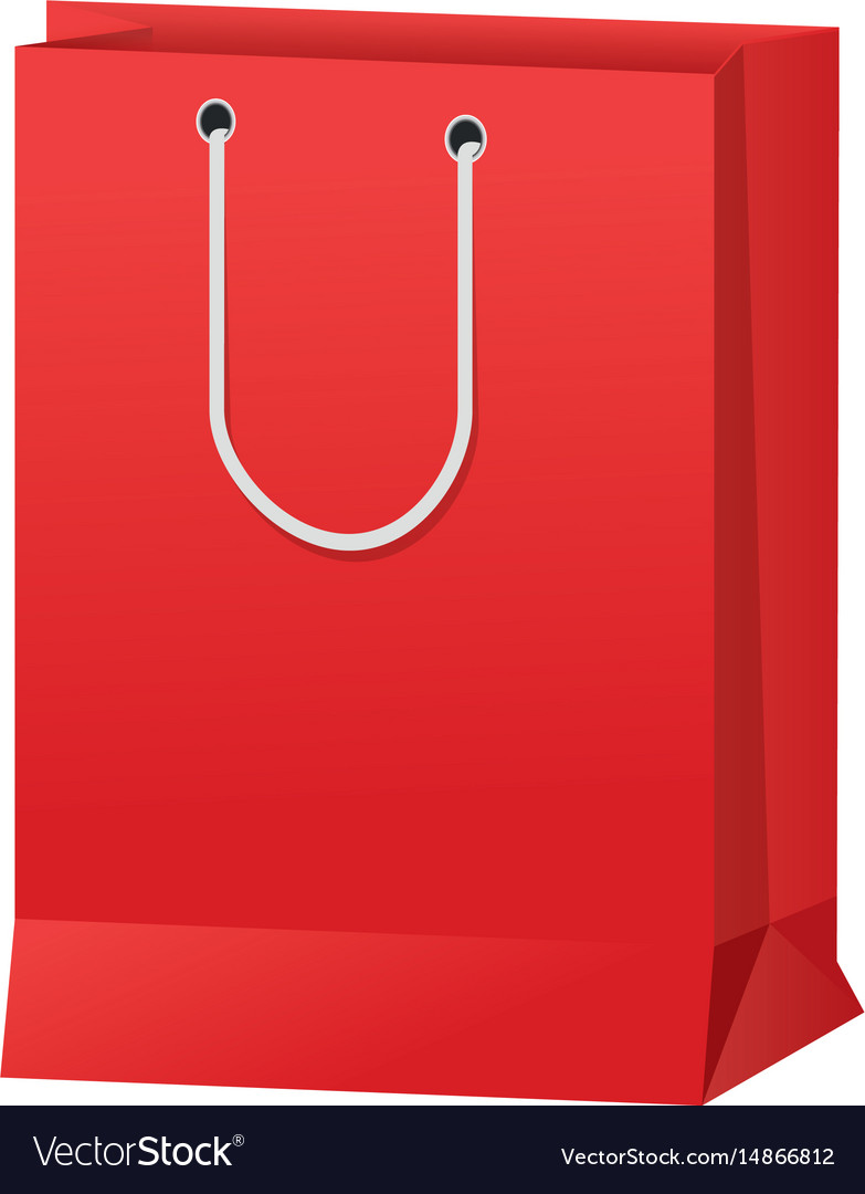 Red paper bag gift present package empty vector image
