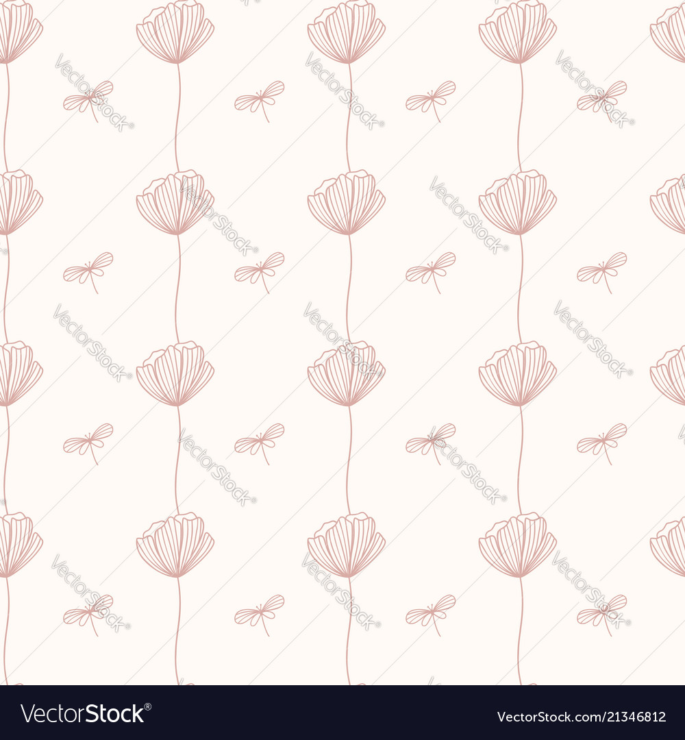 Seamless pattern with poppy flower repeated