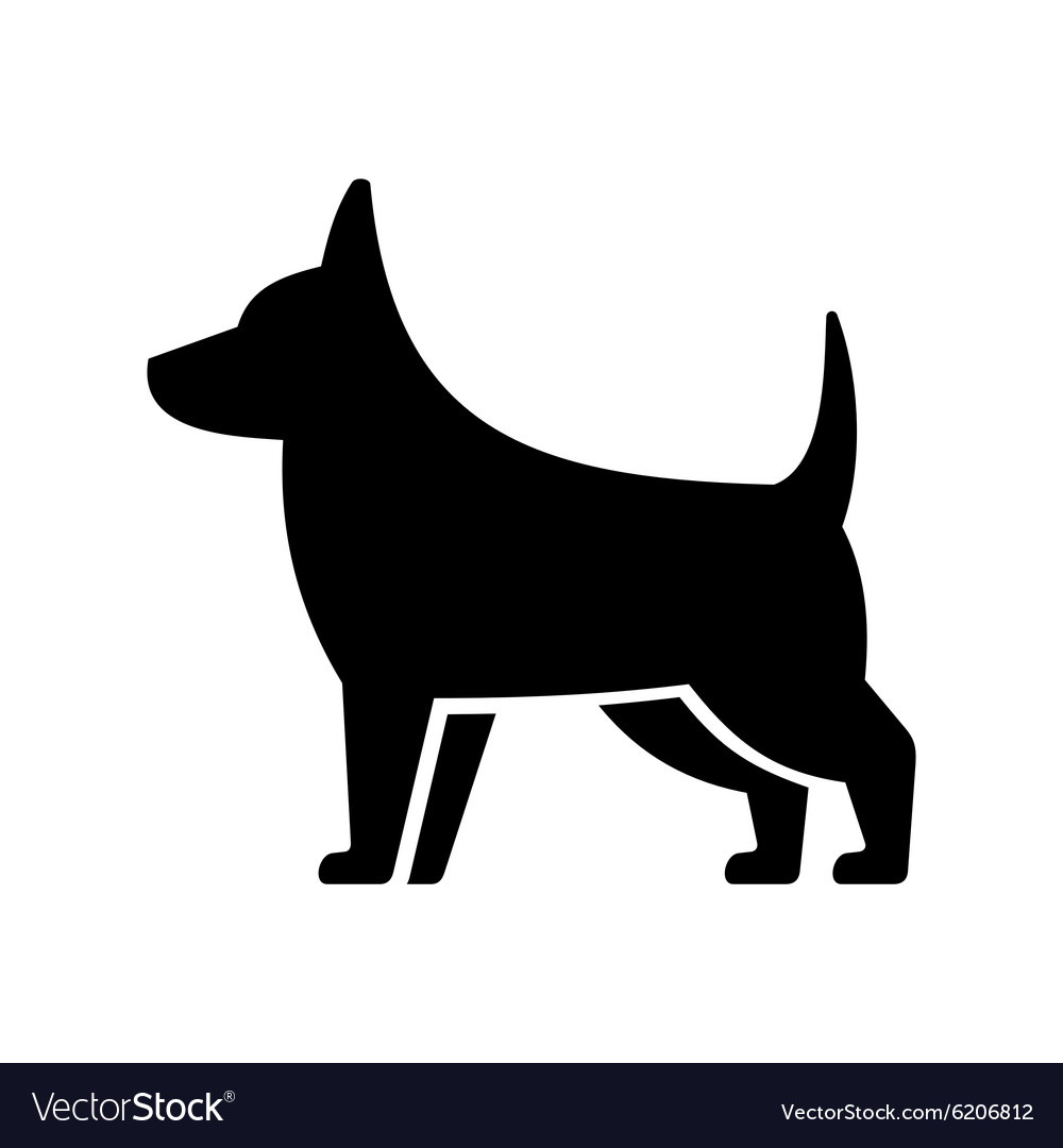 Simple Dog Icon on White Background
