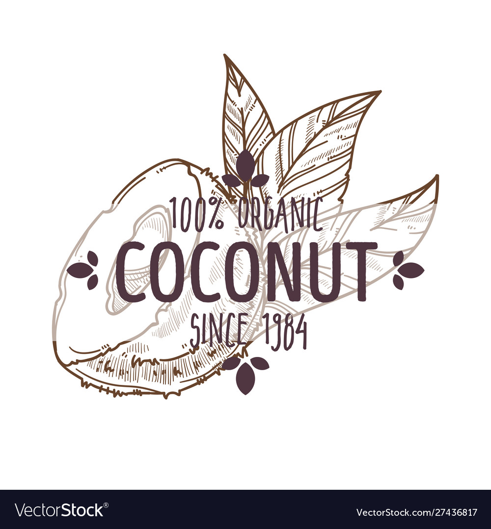 100 percent organic coconut cracked open with