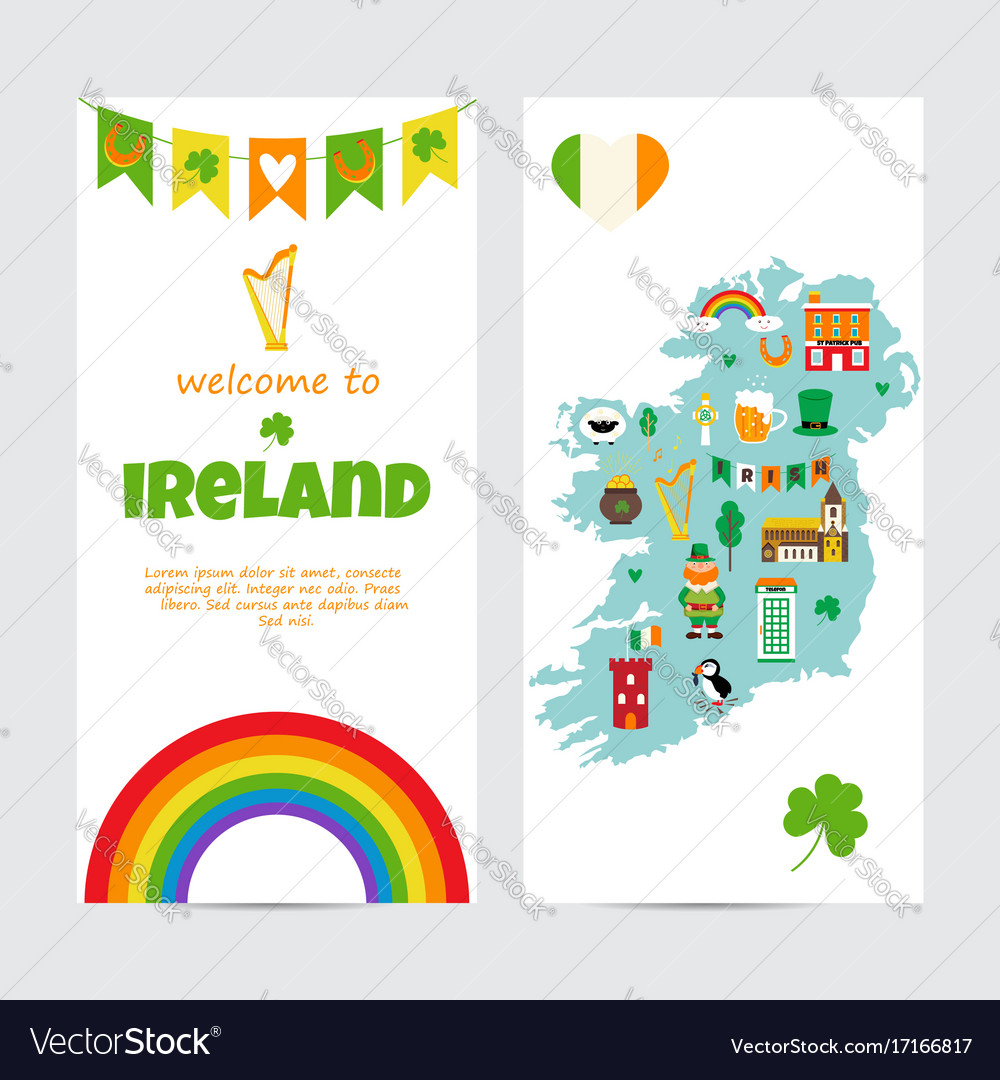 Pdf Map Of Ireland.Background Template With Tourist Map Of Ireland