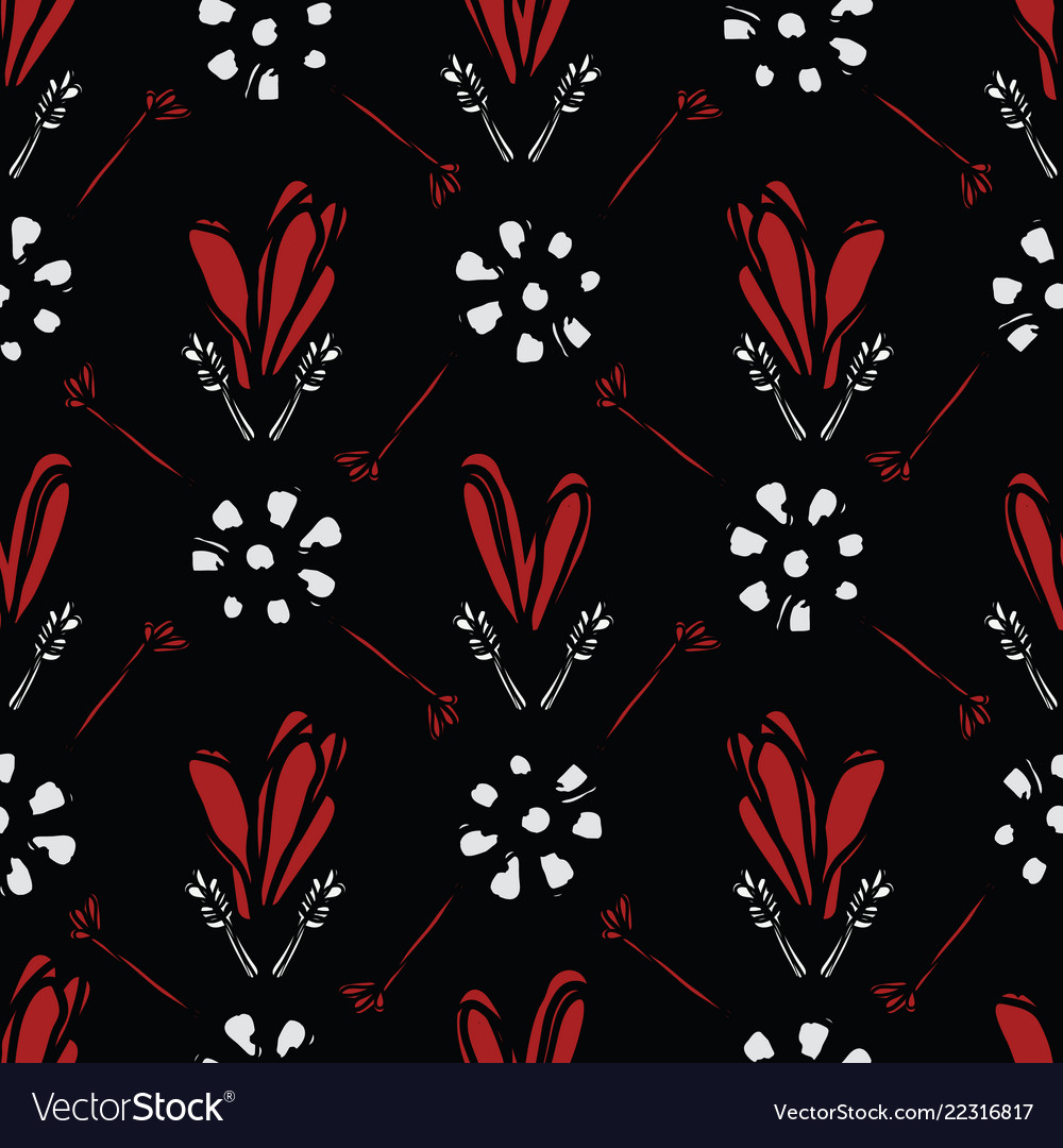 Bohemian scribble heart floral pattern