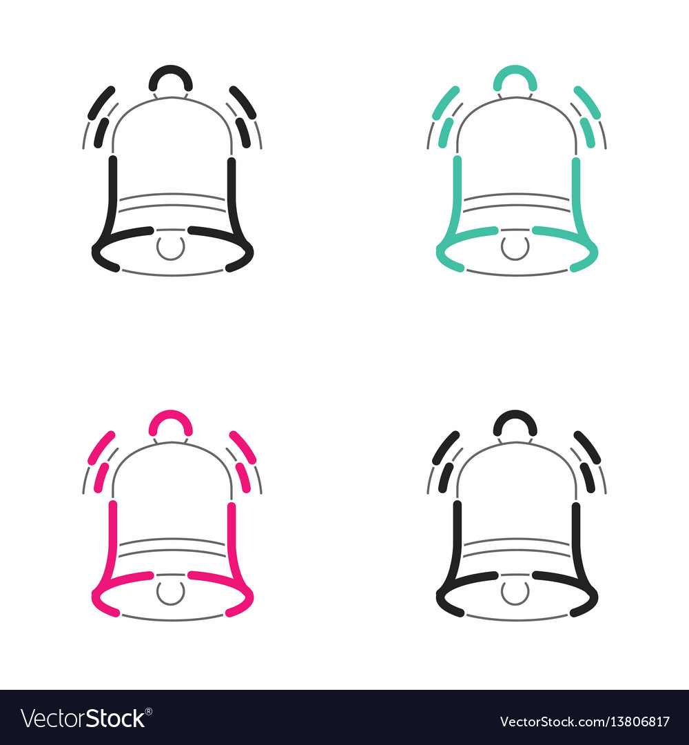 Christmas bell icon neon light vector image