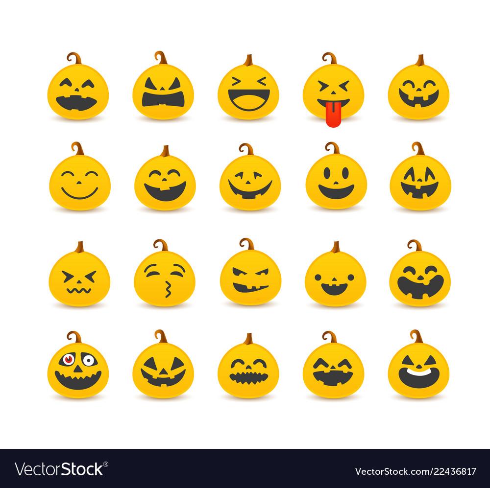 Different pumpkin faces set clipart