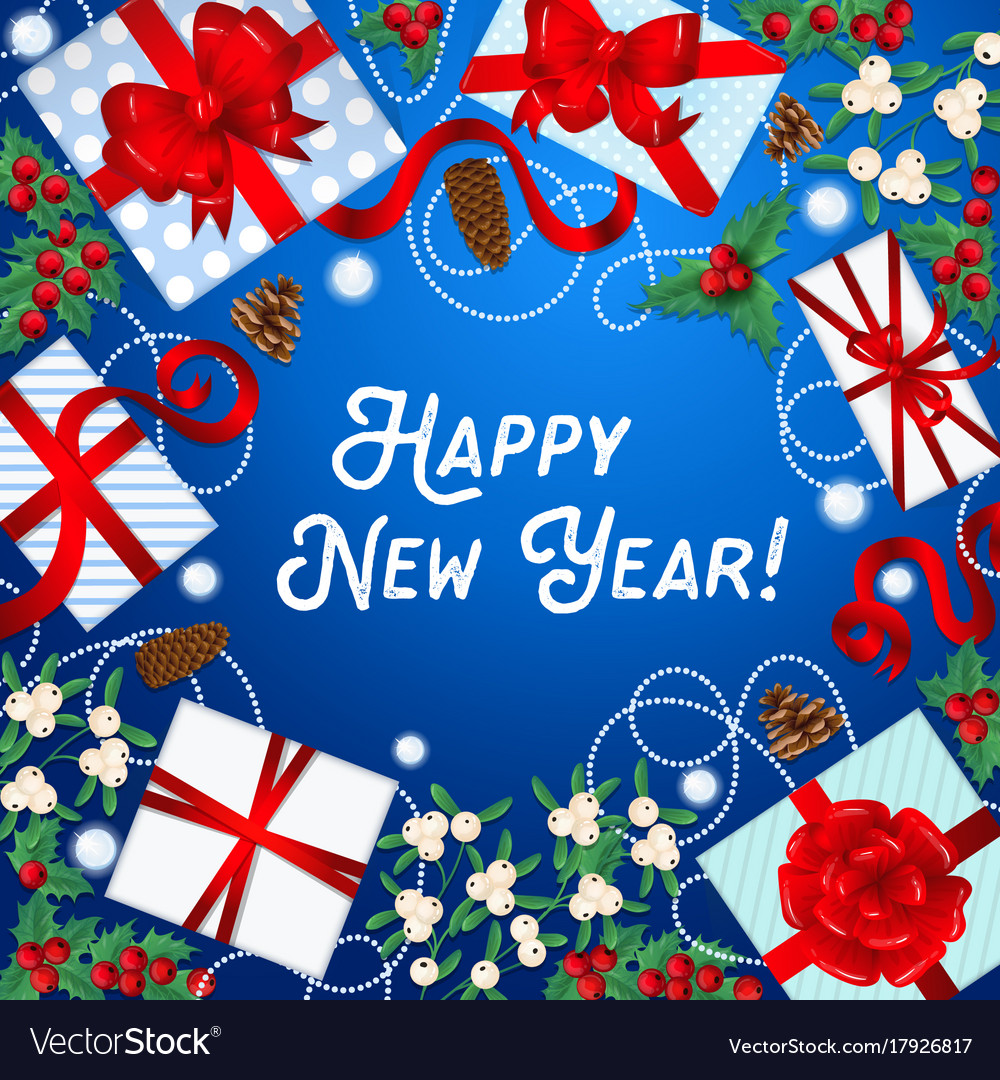 Happy new year greeting card with gift boxes