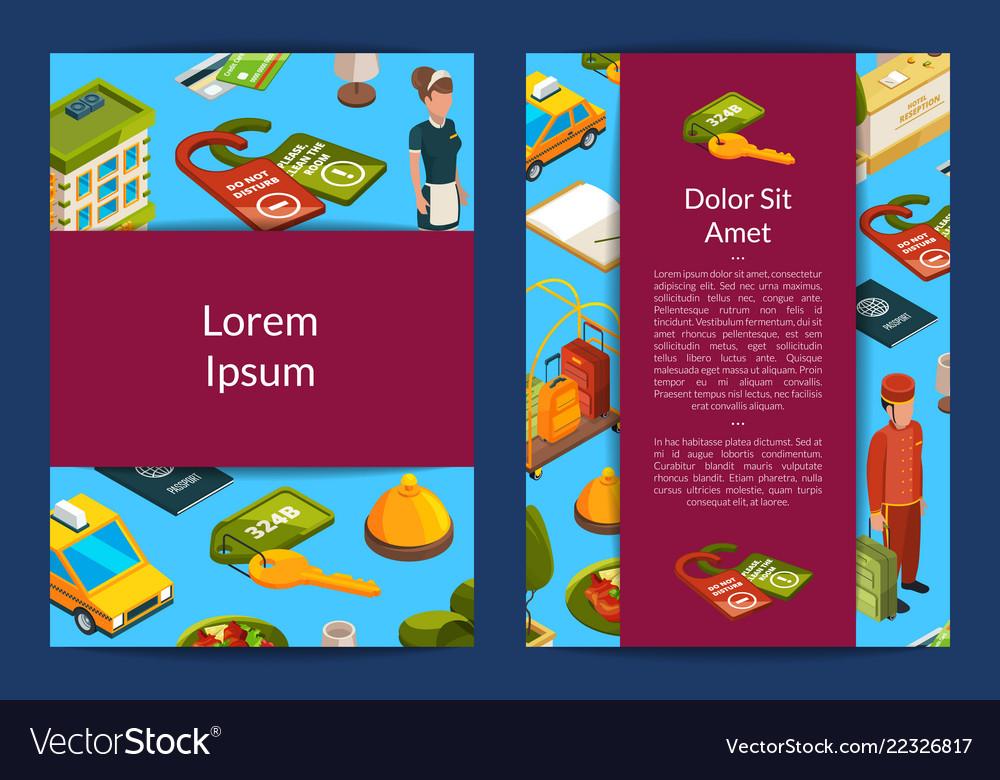 Isometric hotel icons card