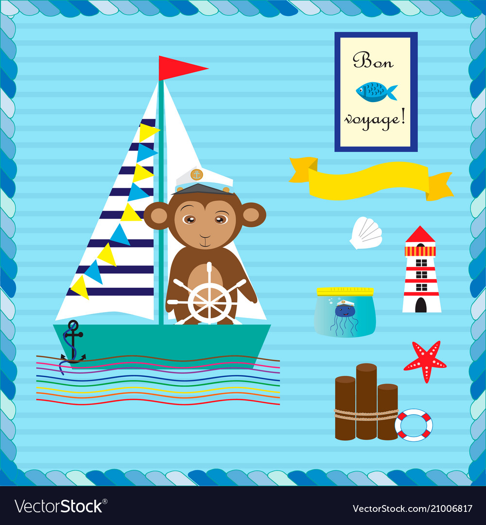 Monkey on the ship collection with elements for