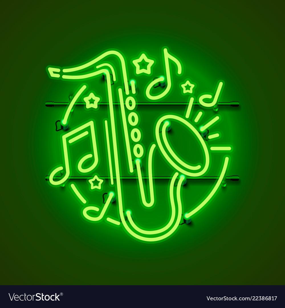 Neon label music jazz banner