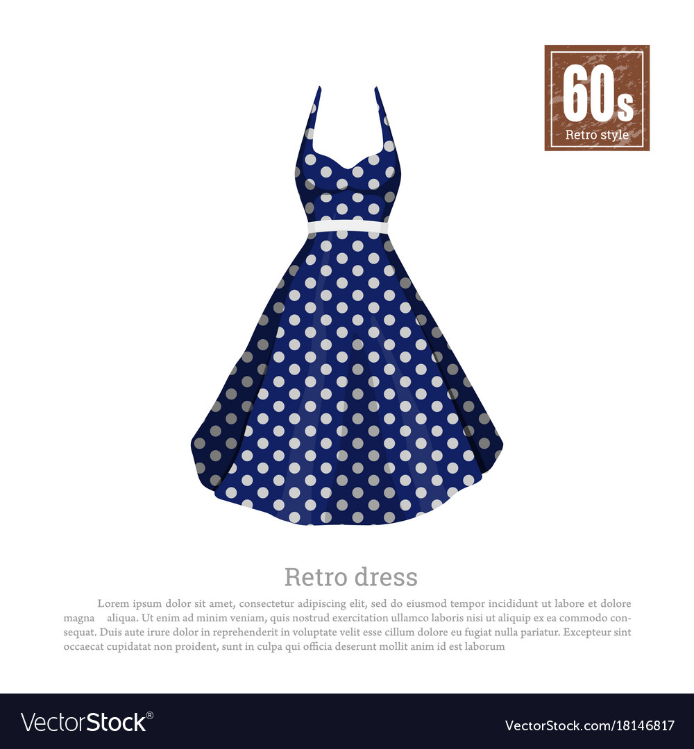 Retro dress in realistic style on white background