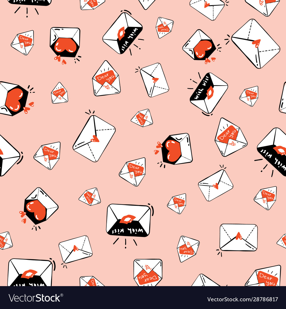 Seamless pattern with cute love letters orange