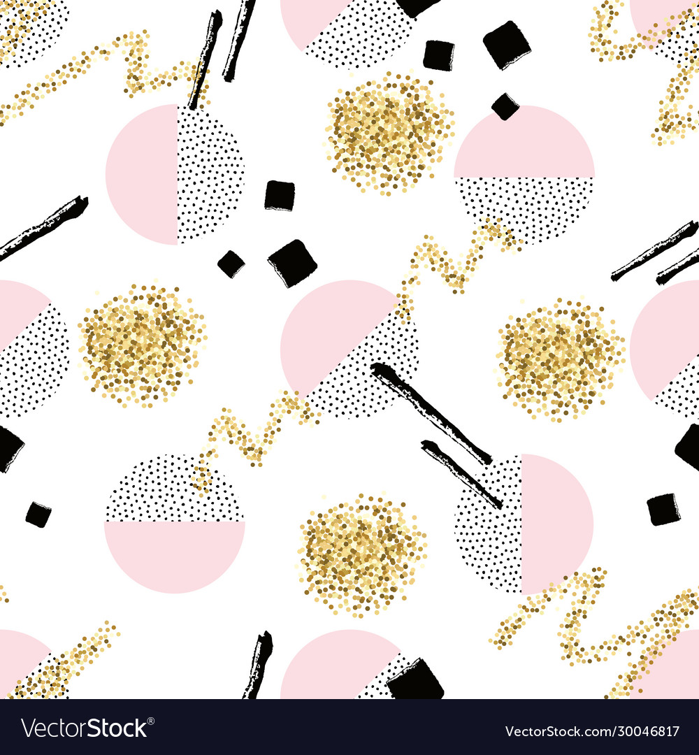 Seamless pattern with round dotted circles golden