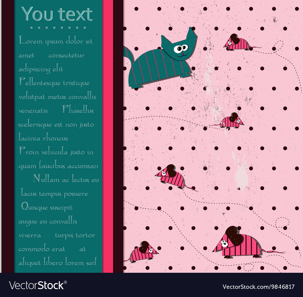 Seamless polka dot background with cat and mouse